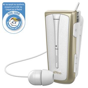 Handsfree Bluetooth Retractable iPro RH219s White/Gold