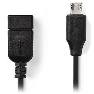 Αντάπτορας Nedis USB to micro USB Black 0.2m (CCGP60515BK02)
